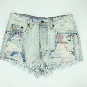 LF Carmar Titania Denim Light Wash Patch Shorts